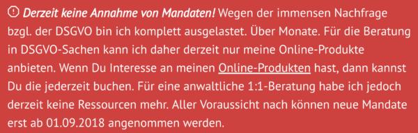 Screenshot: Erklärung zur vollständigen Auslastung auf der «Datenschutz-Guru»-Website von Anwaltskollege Stephan Hansen-Oest