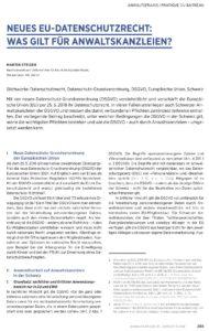 Dokument: Erste Seite von Beitrag «Neues EU-Datenschutzrecht: Was gilt für Anwaltskanzleien?»