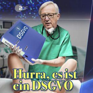 Bild: Jean-Claude Juncker als Geburtshelfer der DSGVO («Hurra, ist es ein DSGVO»)
