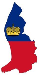 Bild: Fürstentum Liechtenstein-Flagge in Form des Umrisses des Landes