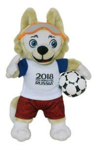 Foto: Zabivaka, Maskottchen der Fussball-Weltmeisterschaft 2018, als Stofftier
