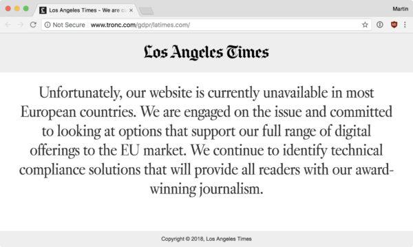 Screenshot: Verweigerter Zugriff auf die Website der Los Angeles Times mit Verweis auf die DSGVO (GDPR)