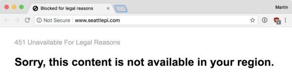 Screenshot: Verweigerter Zugriff auf die Website des Seattle Post-Intelligencers mit Verweis auf «Legal Reasons»