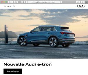 Screenshot: audi.fr-Website mit E-Tron-Fahrzeug