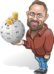 Bild: Wikipedia-Gründer Jimmy Wales mit Wikipedia-Logo und Kleingeld (Cartoon)