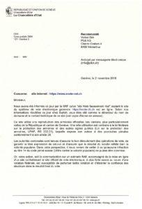 Dokument: E-Voting-Abmahnung des Kantons Genf an den Chaos Computer Club (CCC) vom 2. November 2018 (Auszug)