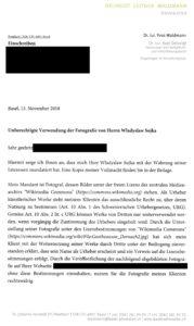 Dokument: Abmahnung von Rechtsanwalt Yves Waldmann vom 13. November 2018 (Ausschnitt)
