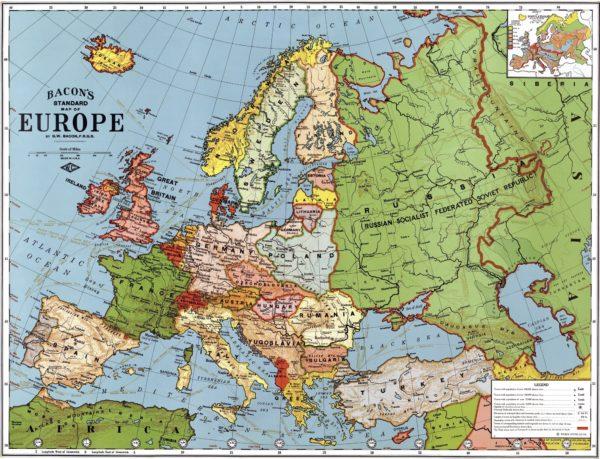 Landkarte: Europa (Bacon's Standard Map of Europe, 1923)