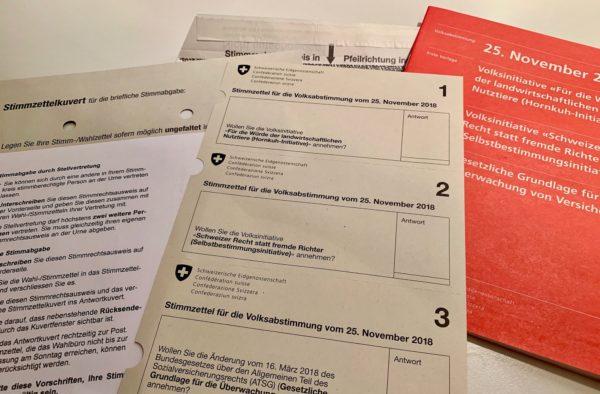 Foto: Stimmunterlagen für die schweizerische Volksabstimmung vom 25. November 2018