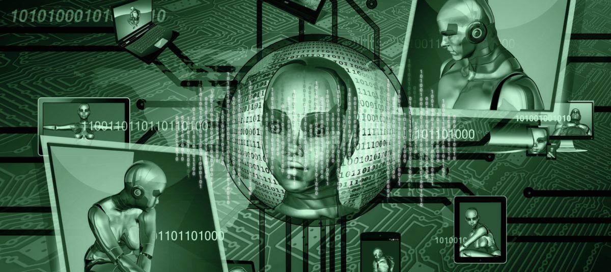 Bild: Nullen und Einsen sowie Roboter (Rendering)