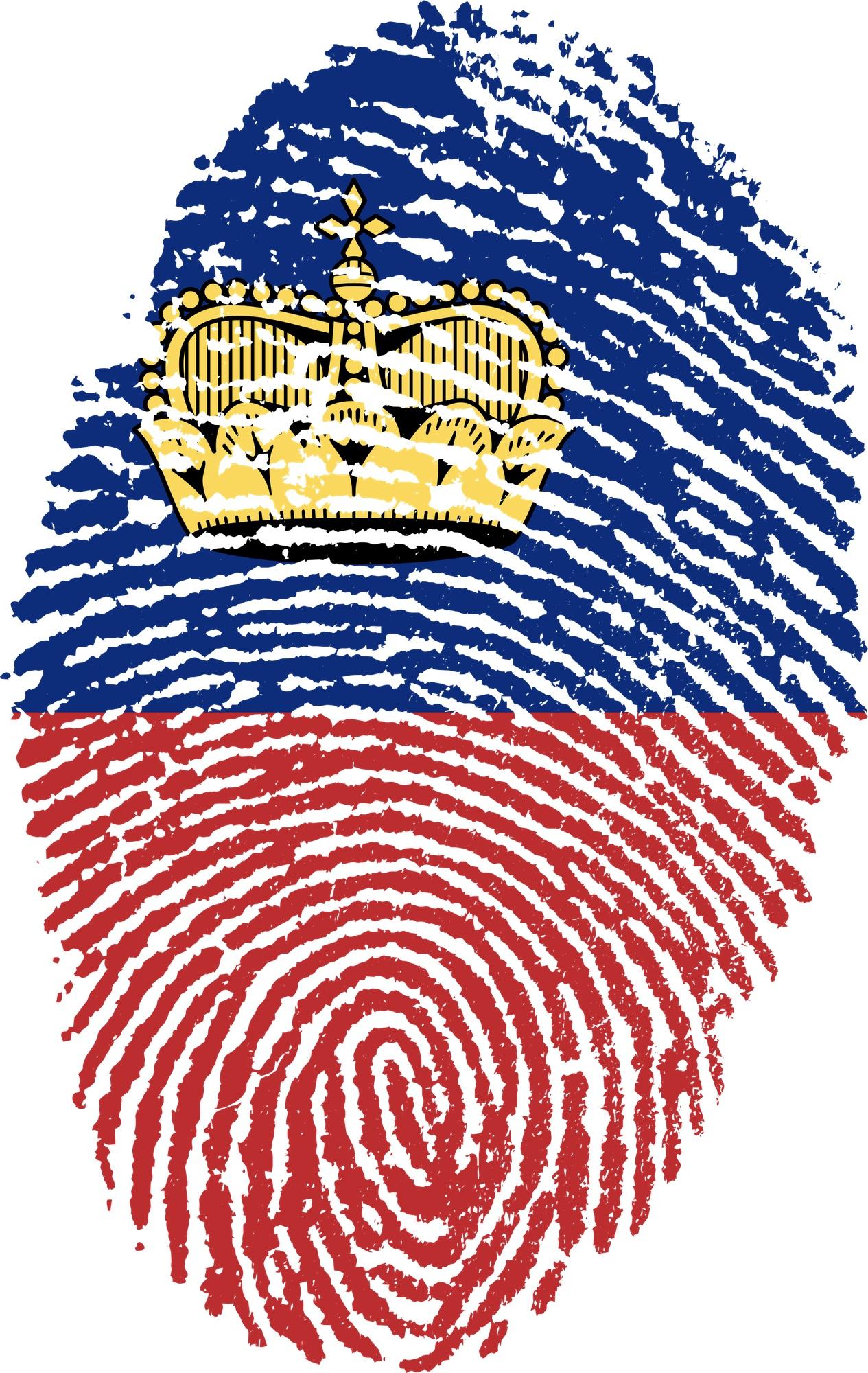 Bild: Fürstentum Liechtenstein-Flagge in Form eines Fingerabdruckes