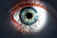 Bild: Auge mit einem Fingerabdruck