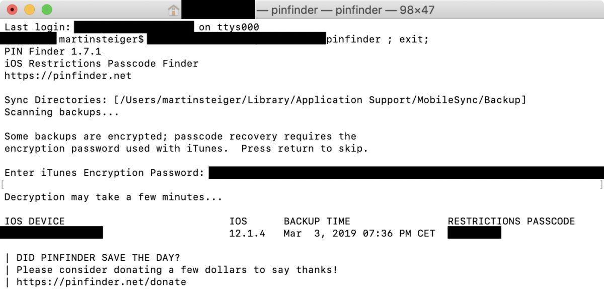 Screenshot: Pinfinder im Einsatz in der MacOS-Terminal.app