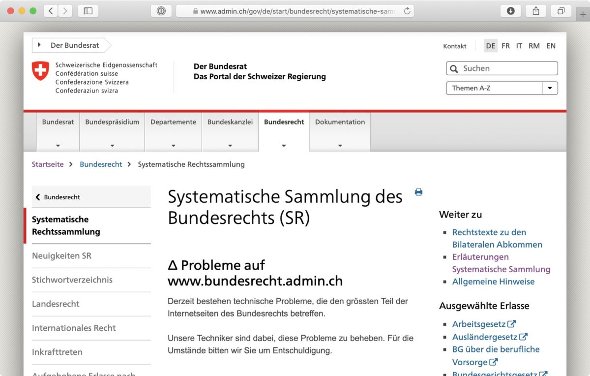 Screenshot: «Probleme auf www.bundesrecht.admin.ch»