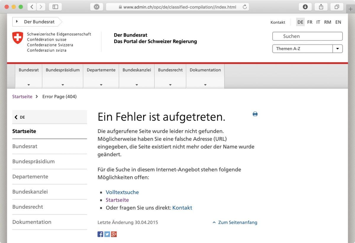 Screenshot: «Ein Fehler ist aufgetreten»-Meldung bei admin.ch