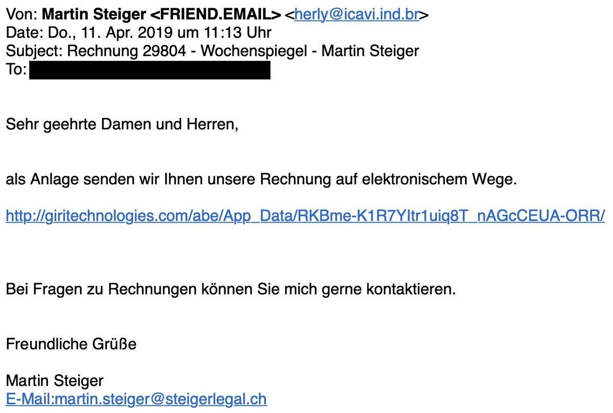 Screenshot: Gefälschte E-Mail