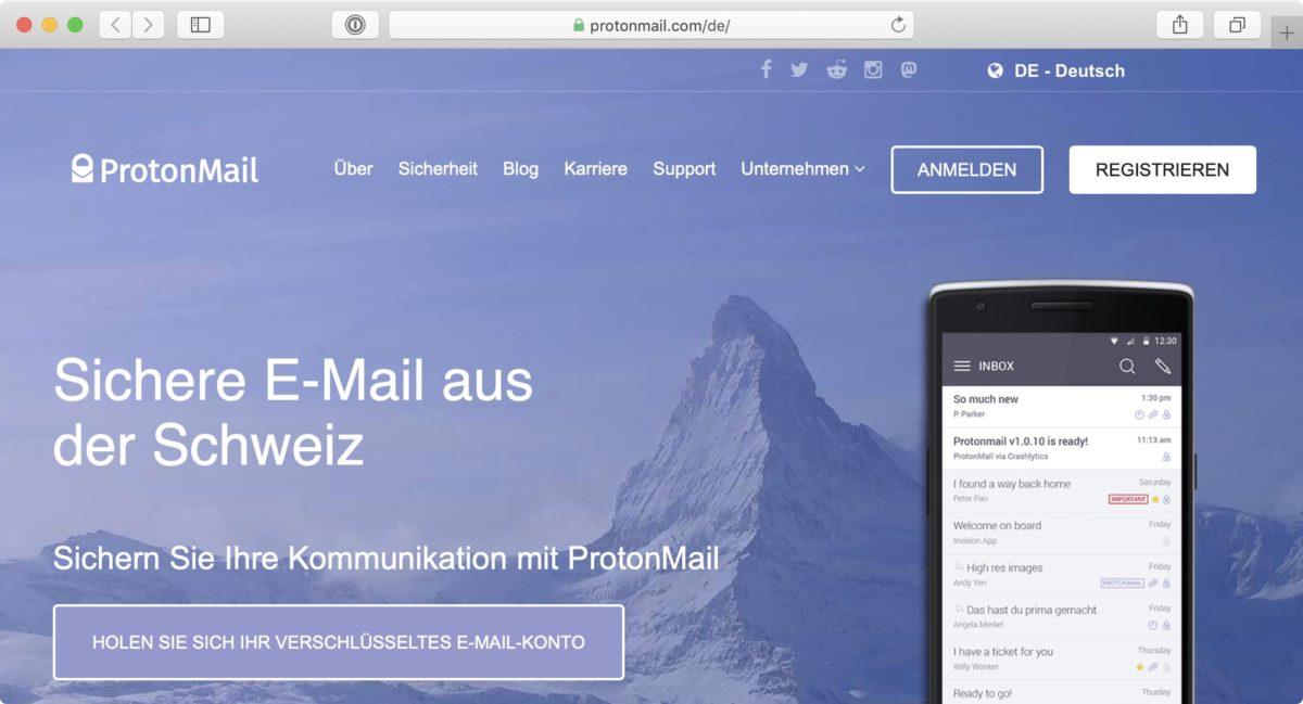 Screenshot: Website von ProtonMail («Sichere E-Mail aus der Schweiz»)