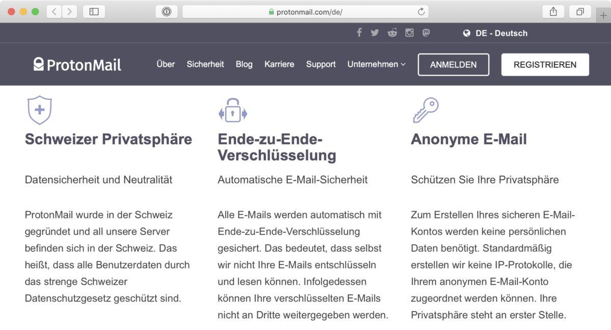 Screenshot: Website von ProtonMail («Schweizer Privatsphäre»)
