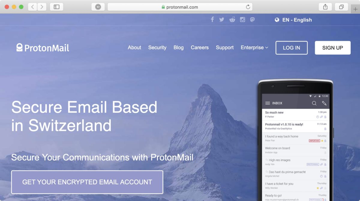"Screenshot: Website of ProtonMail (""Secure Email Based in Switzerland"")"