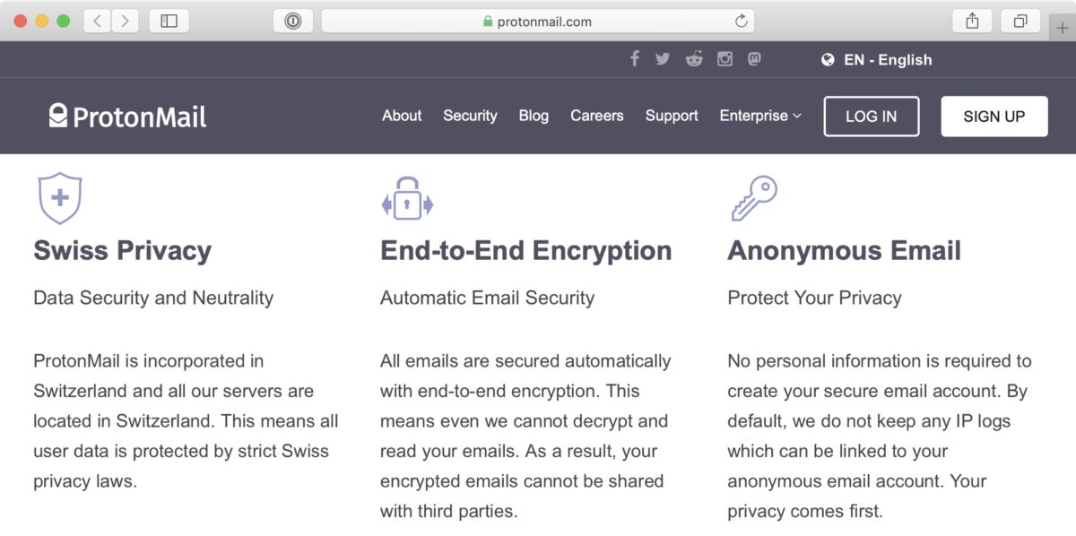 Screenshot: Website of ProtonMail («Swiss Privacy»)