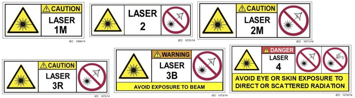 Bild: Verschiedene Laser-Warnsymbole