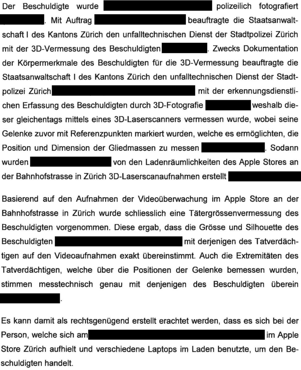 Dokument: Videoüberwachung in schweizerischen Apple Stores (Auszug)