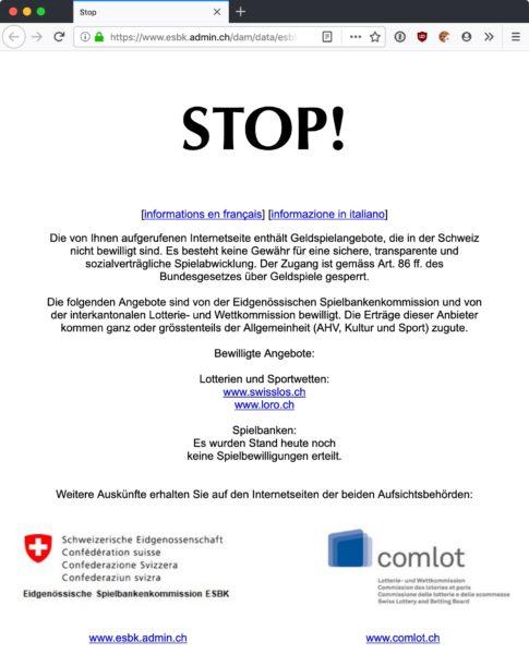 Screenshot: «Stoppseite» zur Information über Netzsperren