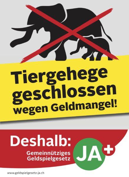 Bild: Plakat für das Geldspielgesetz mit Elefanten-Motiv