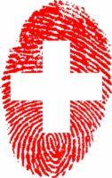 Bild: Schweiz-Flagge in Form eines Fingerabdruckes