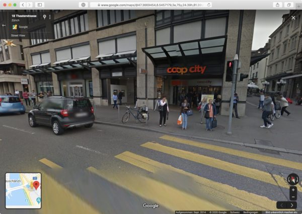 Screenshot: Google Street View in Zürich