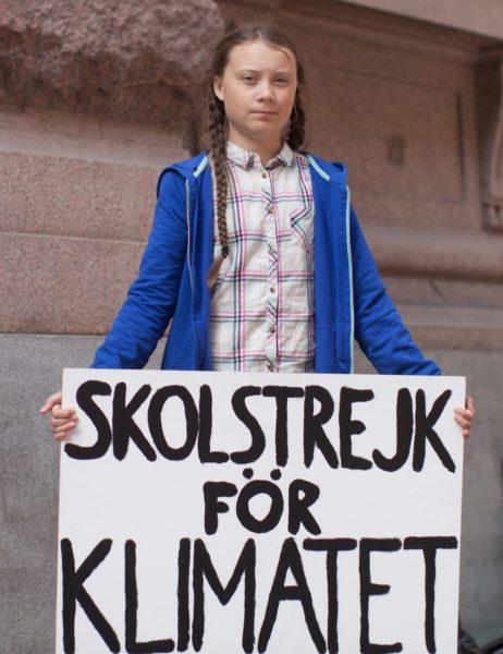Foto: Greta Thunberg mit «SKOLSTREJK FÖR KLIMATET»-Schild