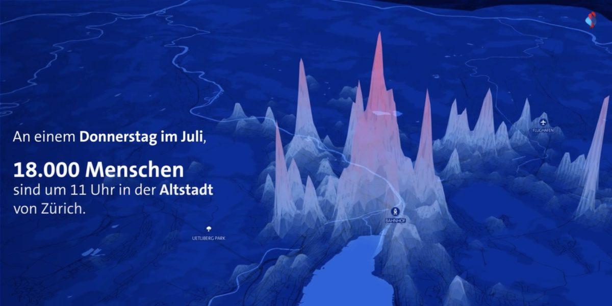 Bild: Anzahl Menschen in der Altstadt von Zürich (Auszug aus Werbefilm für Swisscom Insights)