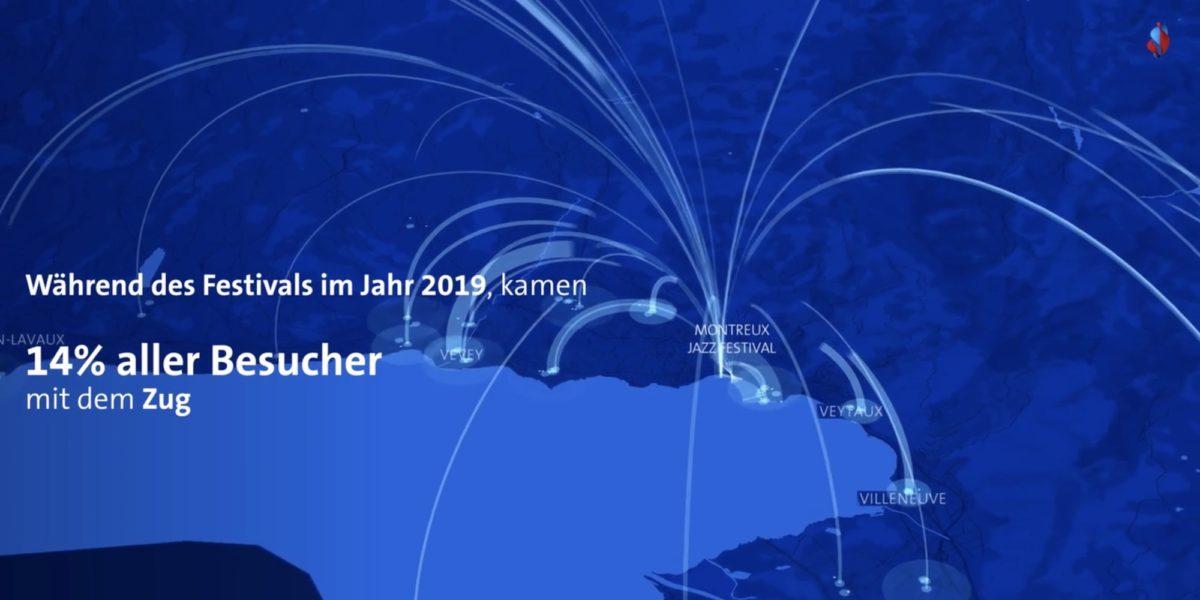 Bild: Herkunft der Besucher am Jazzfestival Montreux (Auszug aus Werbefilm für Swisscom Insights)