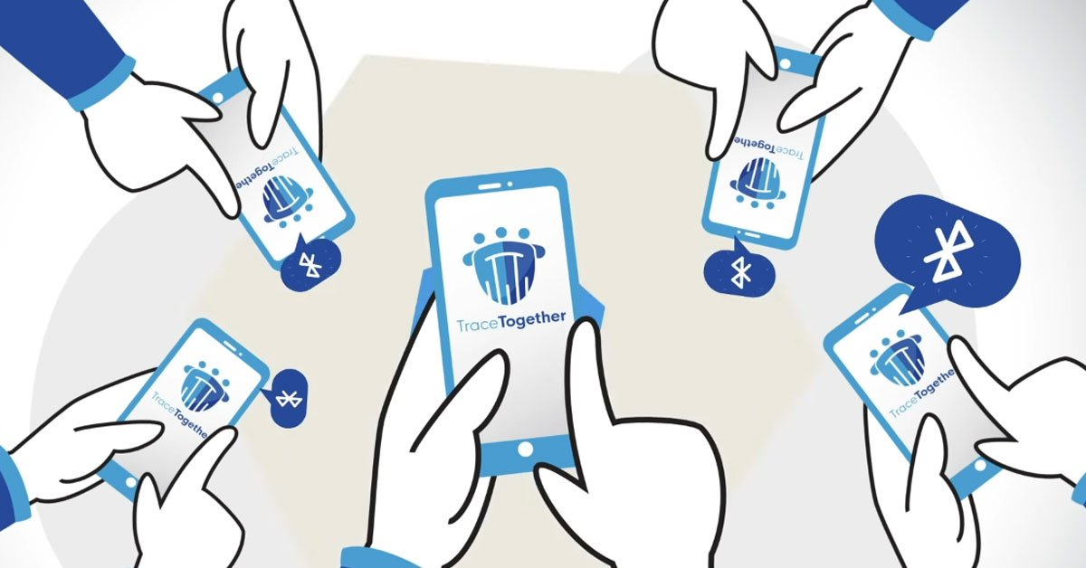 Bild: Gezeichnete Smartphones mit TraceTogether-Logo auf dem Bildschirm