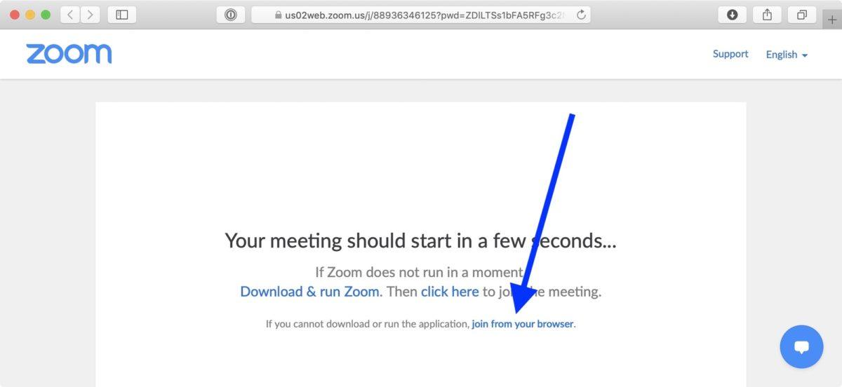 Screenshot: Zoom ohne App im Browser nutzen