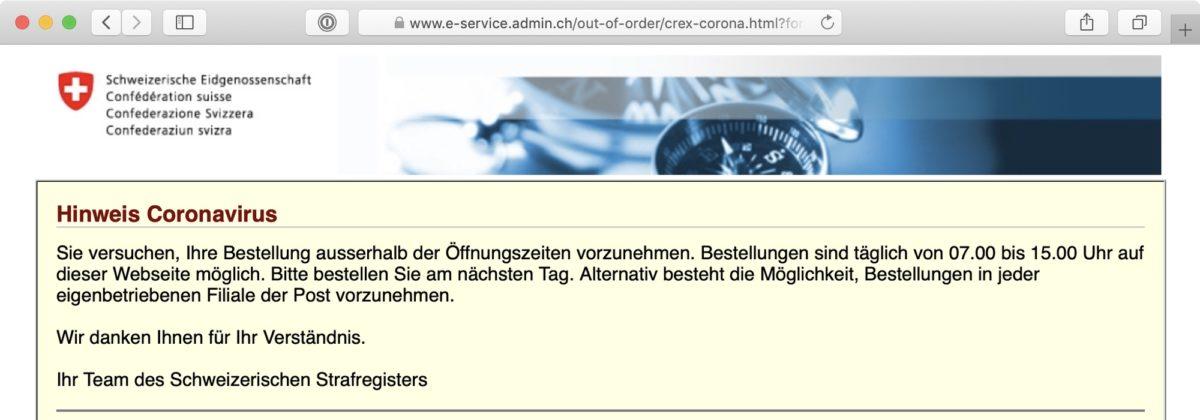 Screenshot: Online-Bestellung für Strafregisterauszüge
