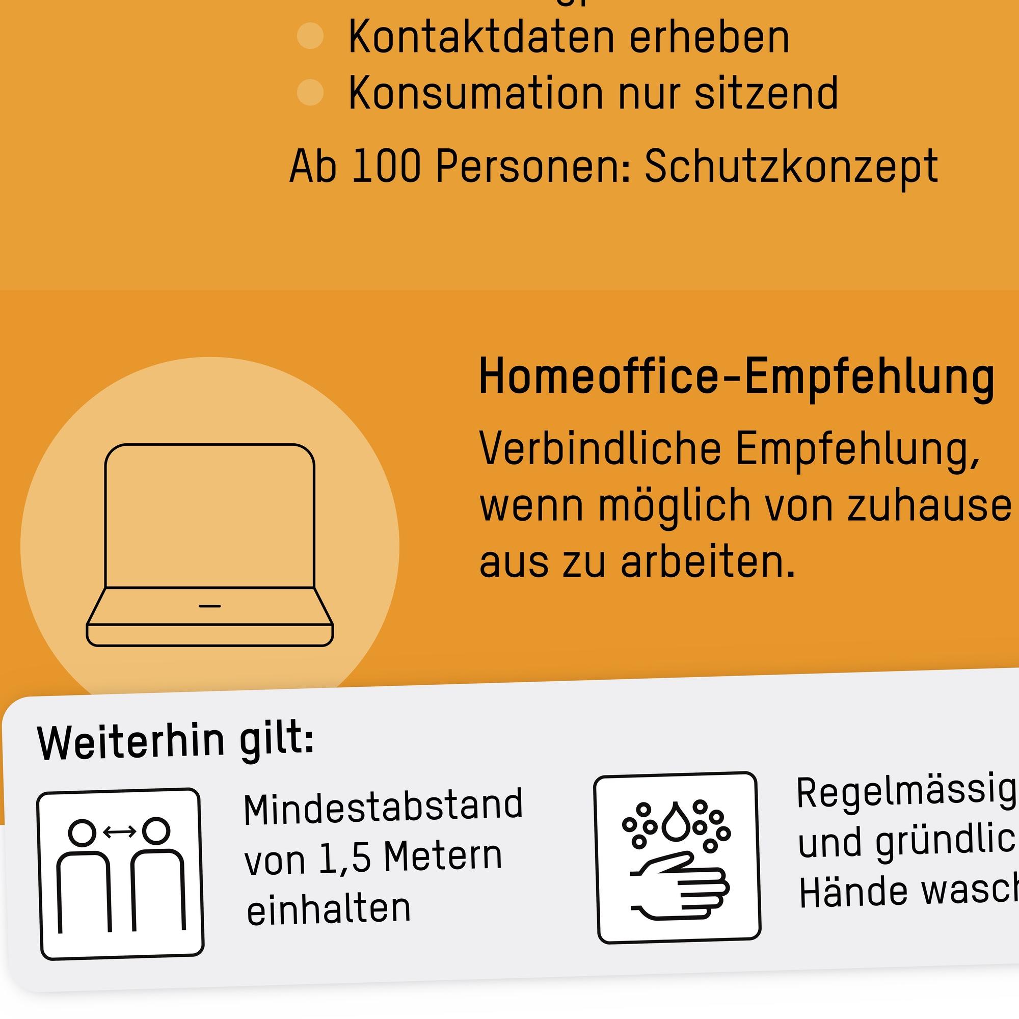 Flyer: «Bund verstärkt Massnahmen gegen das Coronavirus» vom 19. Oktober 2020 (Ausschnitt mit Homeoffice-Empfehlung)