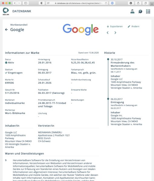 Screenshot: Wort-Bild-Marke «Google» in der neuen IGE-Markendatenbank