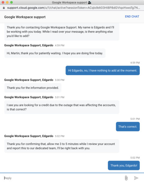Screenshot: Chat mit dem «Google Workspace Support»