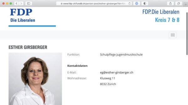 Screenshot: Profil von Esther Girsberger auf der Website der FDP Kreis 7 & 8 der Stadt Zürich