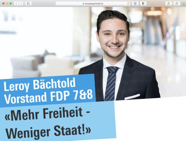 Screenshot: Website von FDP-Politiker Leroy Bächtold