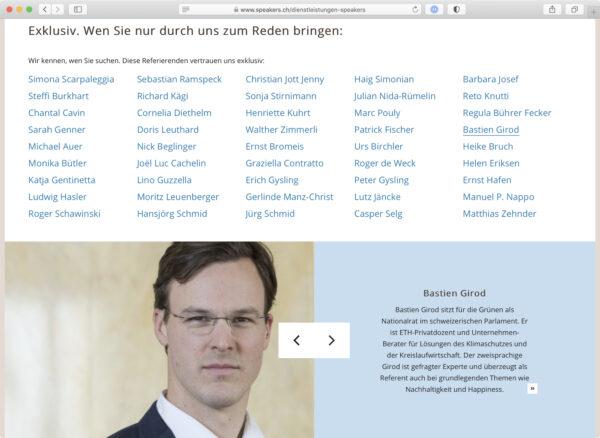 Screenshot: Liste der exklusiven Rednerinnen und Redner der speakers.ch ag