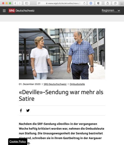 Screenshot: Website der Ombudsstelle der SRG Deutschschweiz mit Beitrag zur beanstandeten «Deville»-Sendung