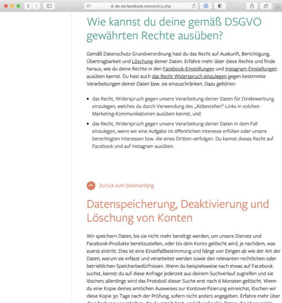 Screenshot: Datenschutzerklärung («Datenrichtlinie») von Facebook