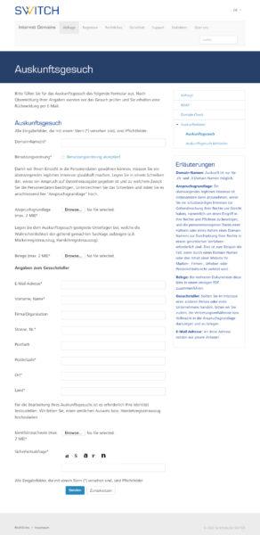 Screenshot: Online-Formular für Auskunftsgesuch bei SWITCH