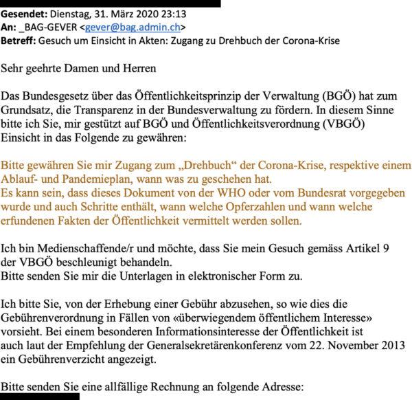 Screenshot: Beispielhafte BGÖ-Anfrage von einem Verschwörungserzähler