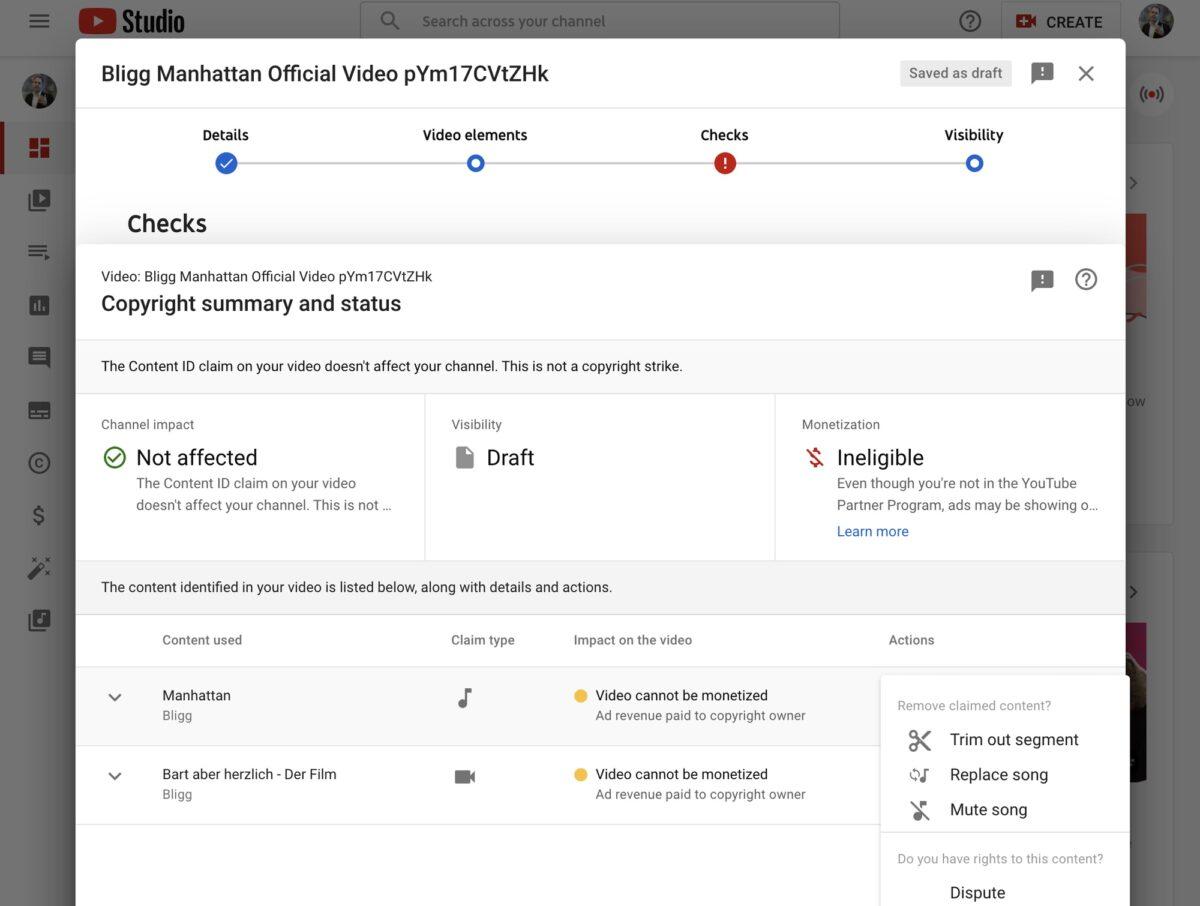 Screenshot: «Überprüfung»-Funktion bei YouTube