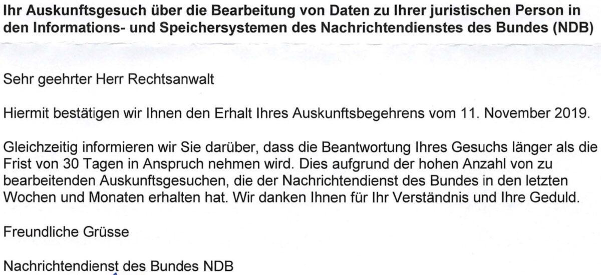 Dokument: NDB-Schreiben betreffend verzögerte Auskunftserteilung (Auszug)