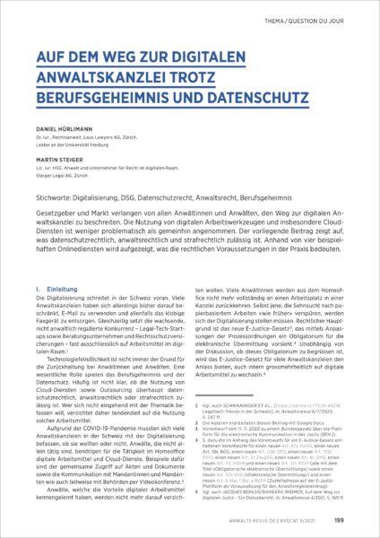 Dokument: Artikel «Auf dem Weg zur digitalen Anwaltskanzlei trotz Berufsgeheimnis und Datenschutz» in der Anwaltsrevue 2021/05 (Auszug, erste Seite)