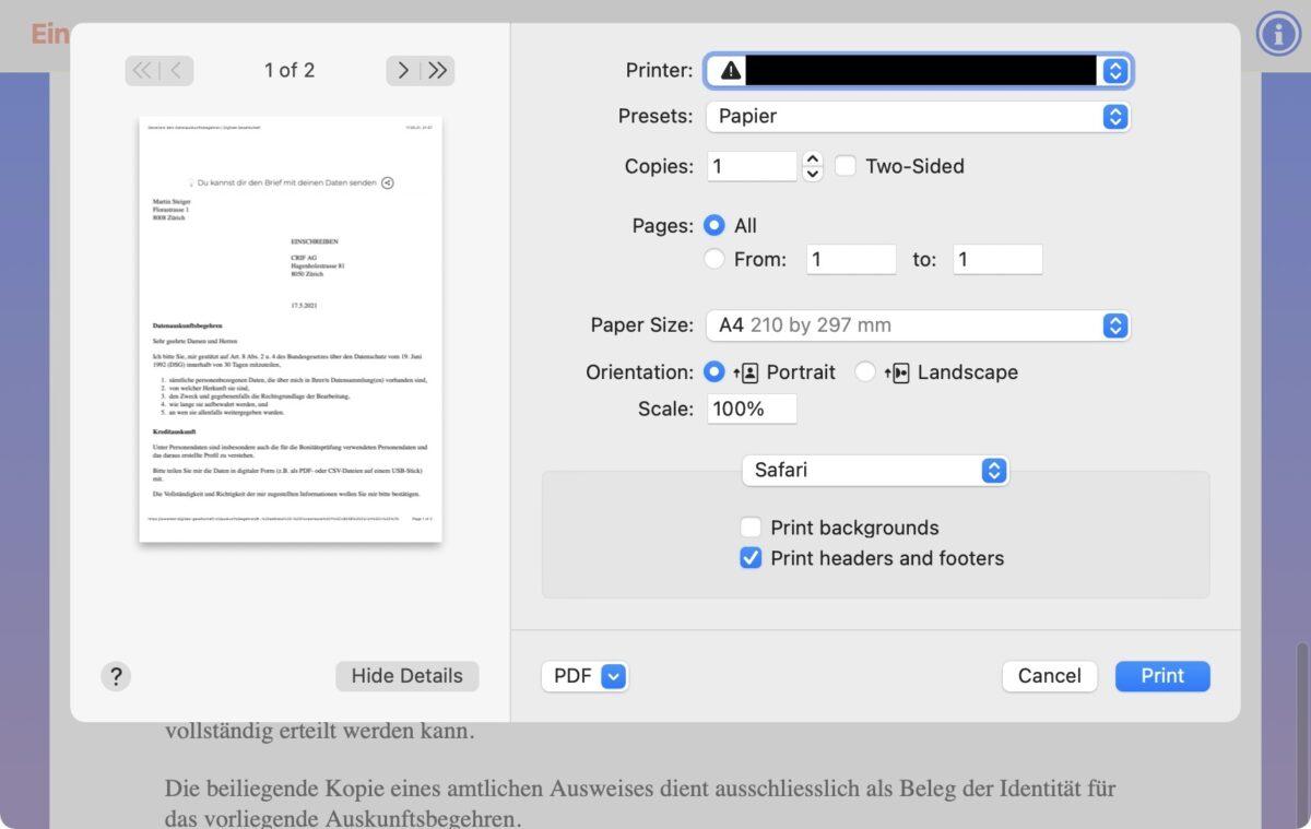 Screenshot: Online-Generator der Digitalen Gesellschaft für datenschutzrechtliche Auskunftsbegehren